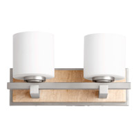 Quorum International Travertine 2 Light Wall Sconce in Satin Nickel 5670-2-65