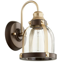 Quorum 586-1-8086 Signature 1 Light 7 inch Aged Brass and Oiled Bronze Wall Sconce Wall Light