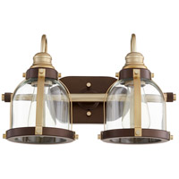 Quorum 586-2-8086 Signature 2 Light 16 inch Aged Brass and Oiled Bronze Vanity Light Wall Light
