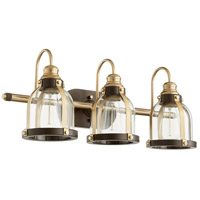 Quorum 586-3-8086 Signature 3 Light 25 inch Aged Brass and Oiled Bronze Vanity Light Wall Light