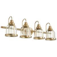 Quorum 586-4-80 Signature 4 Light 33 inch Aged Brass Vanity Light Wall Light