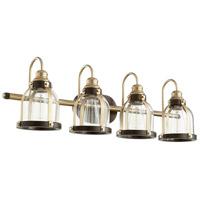 Quorum 586-4-8086 Signature 4 Light 33 inch Aged Brass and Oiled Bronze Vanity Light Wall Light