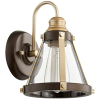Quorum 587-1-8086 Signature 1 Light 7 inch Aged Brass and Oiled Bronze Wall Sconce Wall Light