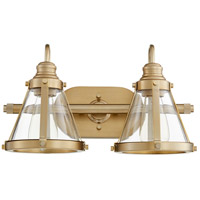 Quorum 587-2-80 Signature 2 Light 17 inch Aged Brass Vanity Light Wall Light