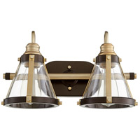 Quorum 587-2-8086 Signature 2 Light 17 inch Aged Brass and Oiled Bronze Vanity Light Wall Light