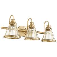 Quorum 587-3-80 Signature 3 Light 25 inch Aged Brass Vanity Light Wall Light