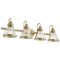 Quorum 587-4-80 Signature 4 Light 35 inch Aged Brass Vanity Light Wall Light