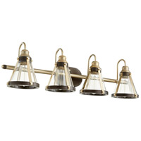 Quorum 587-4-8086 Signature 4 Light 34 inch Aged Brass and Oiled Bronze Vanity Light Wall Light