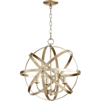 Quorum Celeste 4 Light Chandelier in Aged Silver Leaf 6009-4-60