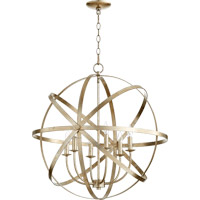 Quorum Celeste 6 Light Chandelier in Aged Silver Leaf 6009-6-60