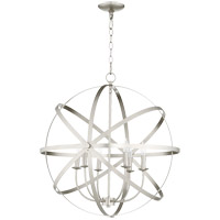 Quorum 6009-6-65 Celeste 26 inch Satin Nickel Chandelier Ceiling Light, Sphere
