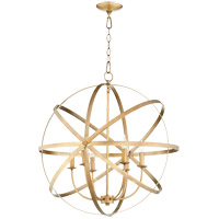 Quorum 6009-6-80 Celeste 26 inch Aged Brass Chandelier Ceiling Light, Sphere