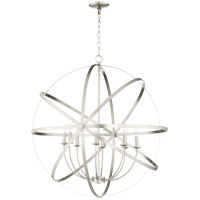 Quorum 6009-8-65 Celeste 33 inch Satin Nickel Chandelier Ceiling Light, Sphere