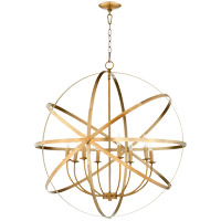 Quorum 6009-8-80 Celeste 33 inch Aged Brass Chandelier Ceiling Light, Sphere
