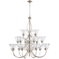 Spencer 39 inch Aged Silver Leaf Chandelier Ceiling Light, Clear Seeded