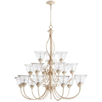 Quorum 6010-18170 Spencer 18 Light 39 inch Persian White Chandelier Ceiling Light, Clear Seeded