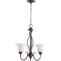 Quorum International Spencer 3 Light Chandelier in Oiled Bronze with Satin Opal Glass 6010-3-186