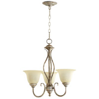 Quorum 6010-3-58 Spencer 3 Light 20 inch Mystic Silver Chandelier Ceiling Light in Amber Scavo
