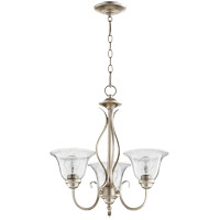Quorum 6010-3-60 Spencer 20 inch Aged Silver Leaf Chandelier Ceiling Light in Clear Seeded, Clear Seeded