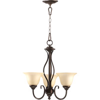 Quorum 6010-3-86 Spencer 3 Light 20 inch Oiled Bronze Chandelier Ceiling Light in Amber Scavo