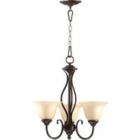 Quorum 6010-3-86 Spencer 3 Light 20 inch Oiled Bronze Chandelier Ceiling Light in Amber Scavo