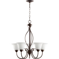 Quorum 6010-5-186 Spencer 5 Light 25 inch Oiled Bronze Chandelier Ceiling Light in Satin Opal