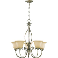 Spencer 5 Light 25 inch Mystic Silver Chandelier Ceiling Light in Amber Scavo