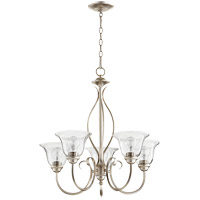Quorum 6010-5-60 Spencer 25 inch Aged Silver Leaf Chandelier Ceiling Light in Clear Seeded, Clear Seeded