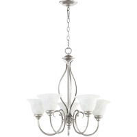 Quorum 6010-5-64 Spencer 5 Light 25 inch Classic Nickel Chandelier Ceiling Light in Faux Alabaster