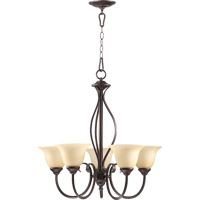 Quorum 6010-5-86 Spencer 5 Light 25 inch Oiled Bronze Chandelier Ceiling Light in Amber Scavo