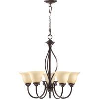 Quorum 6010-5-86 Spencer 5 Light 25 inch Oiled Bronze Chandelier Ceiling Light in Amber Scavo