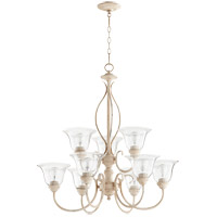Quorum 6010-9-170 Spencer 29 inch Persian White Chandelier Ceiling Light in Clear Seeded, Clear Seeded