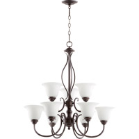 Quorum International Spencer 9 Light Chandelier in Oiled Bronze with Satin Opal Glass 6010-9-186