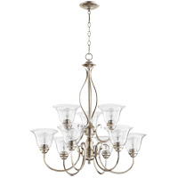 Quorum 6010-9-60 Spencer 29 inch Aged Silver Leaf Chandelier Ceiling Light in Clear Seeded, Clear Seeded
