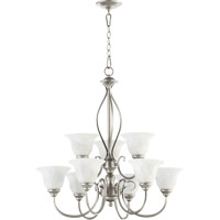 Quorum 6010-9-64 Spencer 9 Light 29 inch Classic Nickel Chandelier Ceiling Light in Faux Alabaster