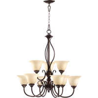 Quorum 6010-9-86 Spencer 9 Light 29 inch Oiled Bronze Chandelier Ceiling Light in Amber Scavo
