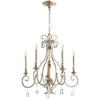 Ansley 5 Light 24 inch Aged Silver Leaf Chandelier Ceiling Light