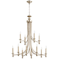 Quorum 6022-12-60 Rossington 12 Light 32 inch Aged Silver Leaf Chandelier Ceiling Light