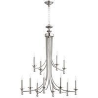Quorum 6022-12-65 Rossington 12 Light 32 inch Satin Nickel Chandelier Ceiling Light