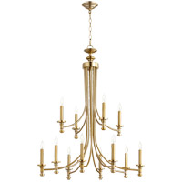 Quorum 6022-12-80 Rossington 12 Light 32 inch Aged Brass Chandelier Ceiling Light