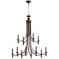Quorum 6022-12-86 Rossington 12 Light 32 inch Oiled Bronze Chandelier Ceiling Light