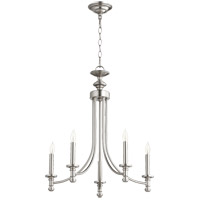 Quorum 6022-5-65 Rossington 5 Light 22 inch Satin Nickel Chandelier Ceiling Light