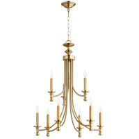 Quorum 6022-9-180 Rossington 9 Light 27 inch Aged Brass Chandelier Ceiling Light