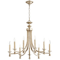 Quorum 6022-9-60 Rossington 9 Light 27 inch Aged Silver Leaf Chandelier Ceiling Light