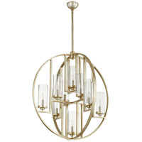 Julian 32 inch Aged Silver Leaf Chandelier Ceiling Light, Clear Seeded