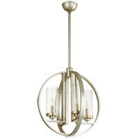 Julian 19 inch Aged Silver Leaf Chandelier Ceiling Light, Clear Seeded