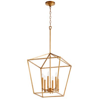 Quorum 604-6-74 Gabriel 6 Light 17 inch Gold Leaf Foyer Pendant Ceiling Light, Quorum Home