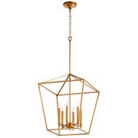 Quorum 604-6-74 Gabriel 6 Light 17 inch Gold Leaf Foyer Pendant Ceiling Light Quorum Home