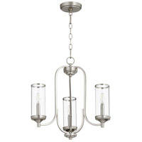 Quorum 6044-3-65 Collins 3 Light 19 inch Satin Nickel Chandelier Ceiling Light