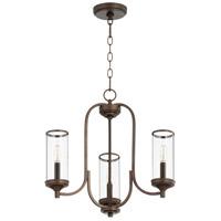 Quorum 6044-3-86 Collins 3 Light 19 inch Oiled Bronze Chandelier Ceiling Light
